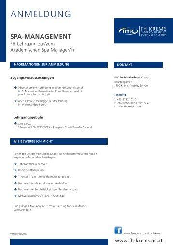 ANMELDUNG - IMC Fachhochschule Krems GmbH