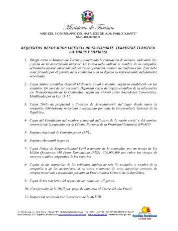 Requisitos para renovación de autorización Transporte Terrestre ...