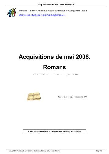 Acquisitions de mai 2006. Romans - Centre de Documentation et d ...