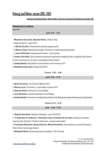 Program - Instytut Archeologii Uniwersytetu Warszawskiego