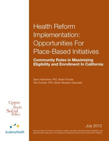Health Reform Implementation: Opportunities For ... - AcademyHealth