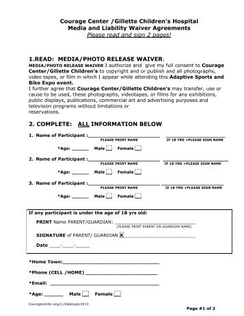 Liability/Media Release Waiver Form  Liability Waiver Form