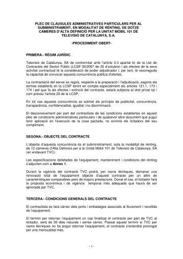 plec de clàusules administratives particulars per al subministrament ...