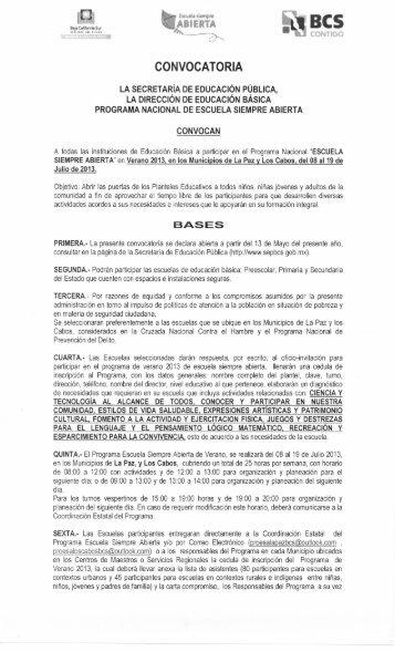 CONVOCATORIA - Secretaria de Educación Pública Baja California ...