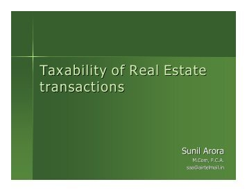 Taxability of Real Estate transactions