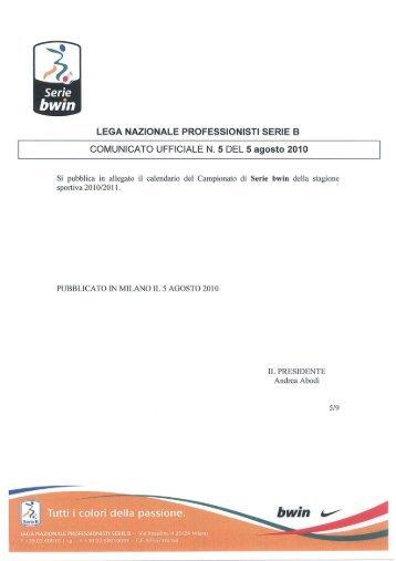 LEGA NAZIONALE PROFESSIONISTI SERIE B COMUNICATO ...