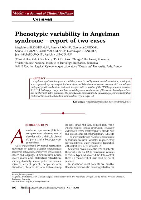 Phenotypic variability in Angelman syndrome – report of