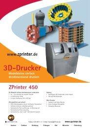 ZPrinter 450 Datenblatt - 3D-Drucker
