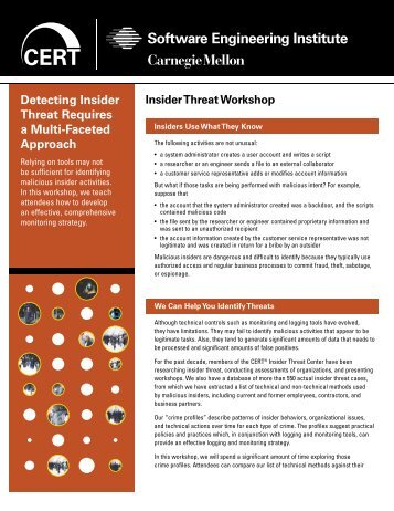 Insider Threat Workshop - Cert