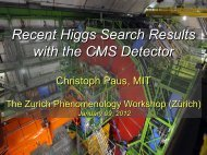 Recent Results from Higgs Searches with the CMS - the zurich ...
