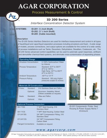 ID 200 Series Interface Concentration Detector ... - MICA Controls