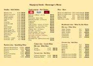 Nápojový lístek - Beverage's Menu - Ristorante Pizzeria Venezia