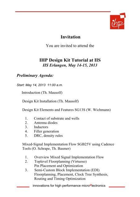 Invitation IHP Design Kit Tutorial at IIS - IHP Microelectronics