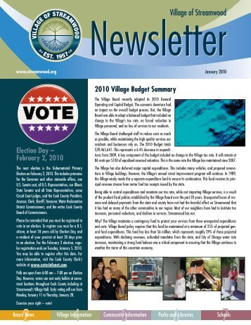 2010 Village Budget Summary Election Day – February 2, 2010