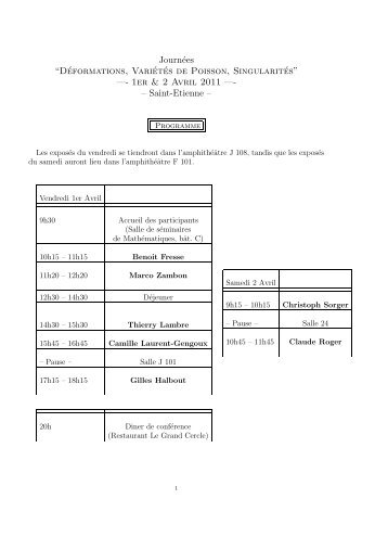 """Journées """"Déformations, Variétés de Poisson, Singularités"""" —- 1er ..."""