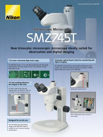 New trinocular stereoscopic microscope ideally suited for ...