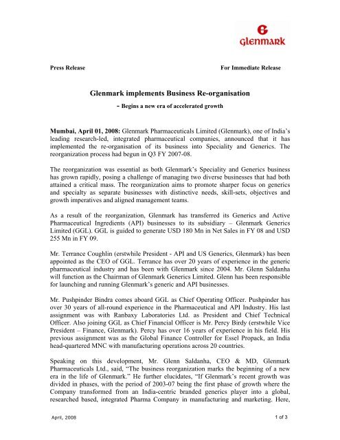 Glenmark implements Business Re-organisation