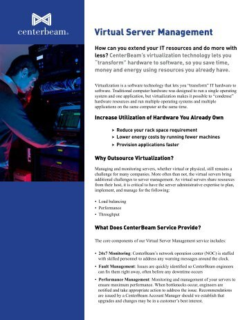 Virtual Server Management Brochure - CenterBeam