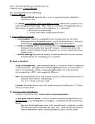 Unit 4: Chemical Bonding and Molecular Structure Chapter 6 Notes ...
