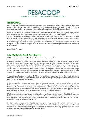 EDITORIAL LA PAROLE AUX ACTEURS - Resacoop