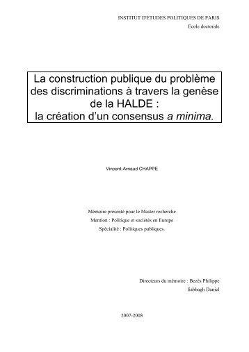 mémoire genèse HALDE - Melissa - ENS Cachan