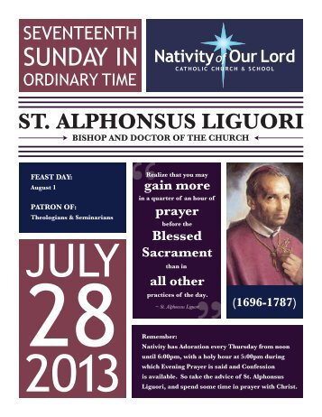 July 28, 2013 - Nativity of Our Lord Catholic Church