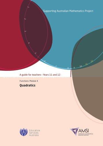 Quadratics - the Australian Mathematical Sciences Institute
