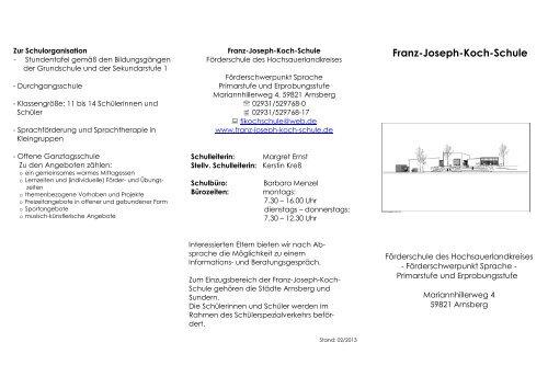 Schul-Flyer - Franz-Joseph-Koch-Schule
