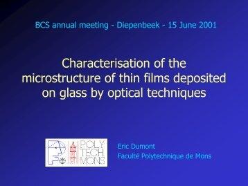 Optical ndex nf - Université de Mons