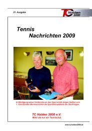 Tennis Nachrichten 2009 - TC Halden 2000