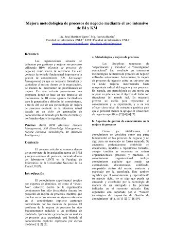 Mejora metodológica de procesos de negocio mediante el uso ... - linti