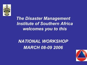 Pat Reid - National Workshop : Port Elizabeth - Disaster ...
