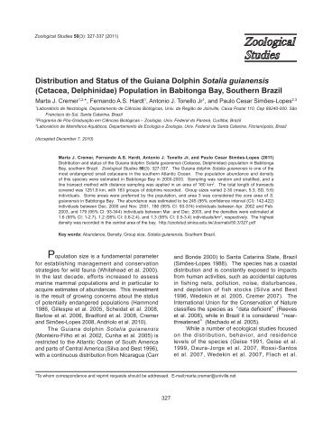 Distribution and Status of the Guiana Dolphin Sotalia guianensis ...