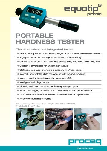 Portable Hardness tester - EMS: European Metrology Systems sa