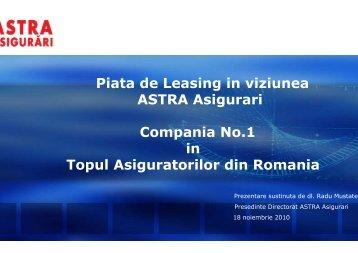 Piata de Leasing in viziunea ASTRA Asigurari Compania No.1 ... - ALB