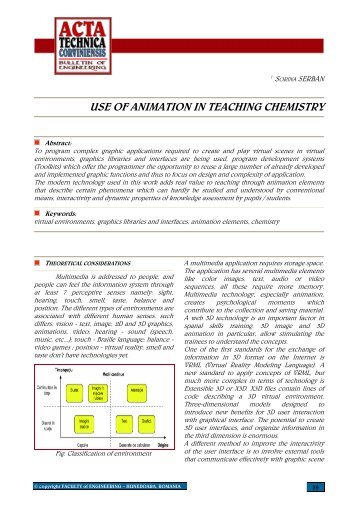 use of animation in teaching chemistry - Acta Technica Corviniensis