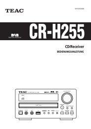 CR-H255 BEDIENUNGSANLEITUNG CD ... - TEAC Europe GmbH