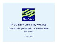 Data discovery portal implementation at the UK Met Office. - GO-ESSP