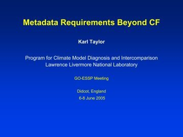 Metadata requirements beyond those provided by the ... - GO-ESSP