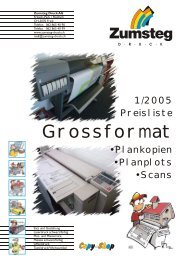 Preisliste für Planplots + GX - Zumsteg Druck AG