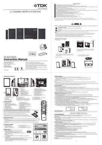 tdk nx 8cd bkds manual