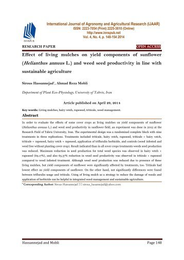 Effect of living mulches on yield components of sunflower (Helianthus annuus L.) and weed seed productivity in line with sustainable agriculture