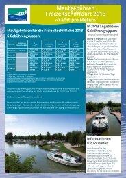Mautgebühren Freizeitschifffahrt 2013 - anpei