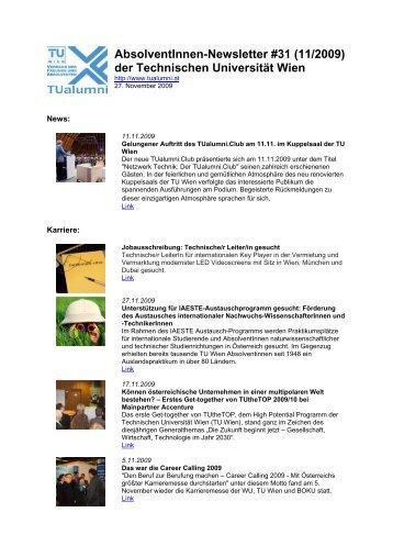 AbsolventInnen-Newsletter #31 (11/2009) der ... - TUalumni