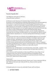Newsletter September 2012 Liebe Mitglieder und Freunde des LAFT ...