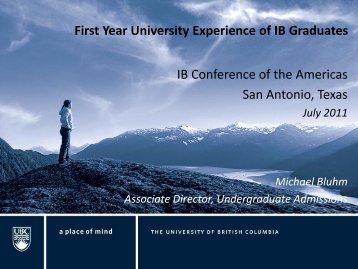 First Year University Experience of IB Graduates - Portage Public ...
