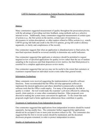 Quality Comments Summary Part 2 - United States Patent and ...