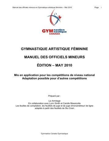 Manuel des officiels mineurs - Gymnastics Canada