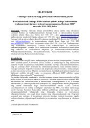SELETUSKIRI Vabariigi Valitsuse istungi protokollilise otsuse ...