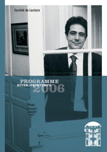 """PDF """"Hiver/Printemps"""" - Societe de Lecture Geneve"""